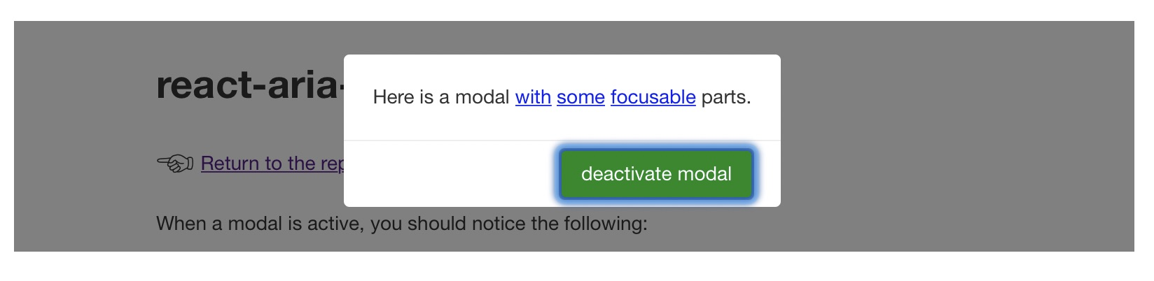 Image showing a modal with a clear focus order.